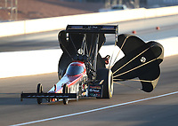 Nov 1, 2019; Las Vegas, NV, USA; NHRA top fuel driver Chris Karamesines during qualifying for the Dodge Nationals at The Strip at Las Vegas Motor Speedway. Mandatory Credit: Mark J. Rebilas-USA TODAY Sports