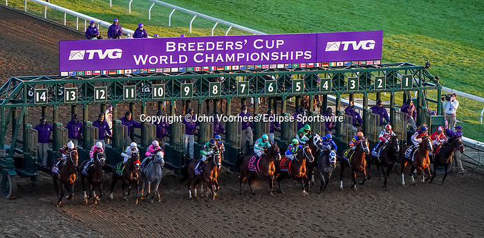 November 6, 2020: Horses race during the TVG Juvenile Presented By Thoroughbred Aftercare Alliance on Breeders' Cup Championship Friday at Keeneland on November 6, 2020: in Lexington, Kentucky. John Voorhees/Eclipse Sportswire/Breeders Cup/CSM