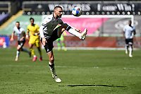 Conor Hourihane of Swansea City in action during the Sky Bet Championship match Swansea City and Wycombe Wanderers at Liberty Stadium in Swansea, Wales. Sporting stadiums around the UK remain under strict restrictions due to the Coronavirus Pandemic as Government social distancing laws prohibit fans inside venues resulting in games being played behind closed doors.<br /> Saturday 17 April 2021