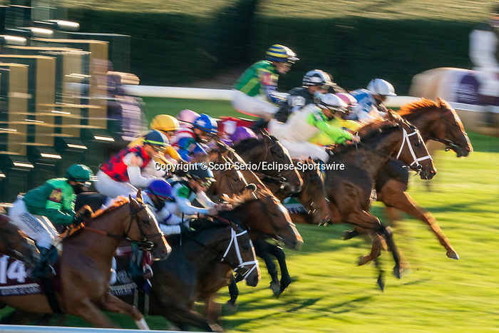 November 6, 2020: Horses race during the Juvenile Fillies Turf on Breeders' Cup Championship Friday at Keeneland on November 6, 2020: in Lexington, Kentucky. Scott Serio/Eclipse Sportswire/Breeders Cup/CSM