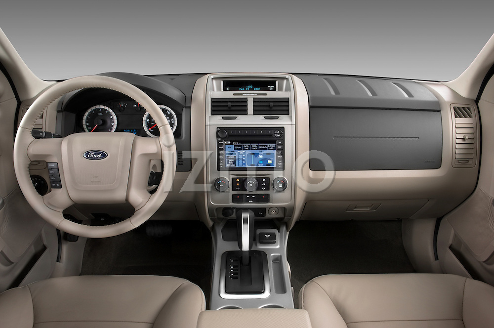 Straight dashboard view of a 2008 Ford Escape Hybrid