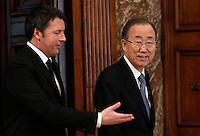 Il Presidente del Consiglio Matteo Renzi, a sinistra, accoglie il segretario nazionale dell'ONU Ban Ki-moon a Palazzo Chigi, Roma, 18 marzo 2015.<br /> Italian Premier Matteo Renzi, left, welcomes UN Secretary-General Ban Ki-moon at Chigi Palace, Rome, 18 March 2015.<br /> UPDATE IMAGES PRESS/Isabella Bonotto