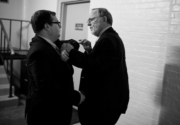 Rep. Don Young, R-Alaska, confronts an aide who tried to stop him from entering the side door of a House Republican meeting in the Capitol, July 31, 2014. Members are not supposed to use the side door when a meeting is in progress. Young was eventually allowed to pass.