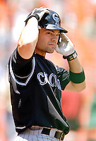 15 June 2006: Jamey Carroll, infielder for the Colorado Rockies, prepares to lead off against the Washington Nationals at RFK Stadium, in Washington, DC. The Rockies defeated the Nationals, 8-1 to sweep the four-game series...Mandatory Photo Credit: Ed Wolfstein Photo...