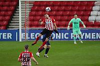 Sunderland's Charlie Wyke wins a header during Sunderland AFC vs Blackpool, Sky Bet EFL League 1 Football at the Stadium Of Light on 27th April 2021