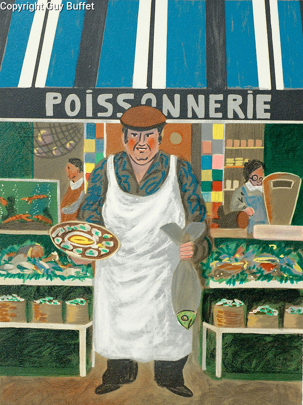"""""""The Fish Market""""<br /> Limited Edition Lithograph Paper 15x12<br /> SN $300"""