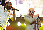 Pitbull and T-Pain on stage at The KIIS FM Wango Tango 2011 held at The Staples Center in Los Angeles, California on May 14,2011                                                                   Copyright 2011  DVS / RockinExposures