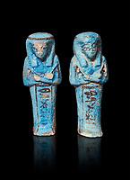 Ancient Egyptian shabtis doll, New Kingdom,. Egyptian Museum, Turin. Grey background.