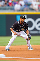 Charlotte Knights third baseman Marcus Semien (6) on defense against the Pawtucket Red Sox at BB&T Ballpark on August 9, 2014 in Charlotte, North Carolina.  The Red Sox defeated the Knights  5-2.  (Brian Westerholt/Four Seam Images)