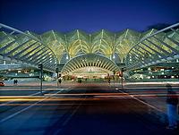 """Exterior of Estacio de Oriente Interchange, Parque da Nacoes, Lisbon, Portugal. Designed by Santiago Calatrava."""