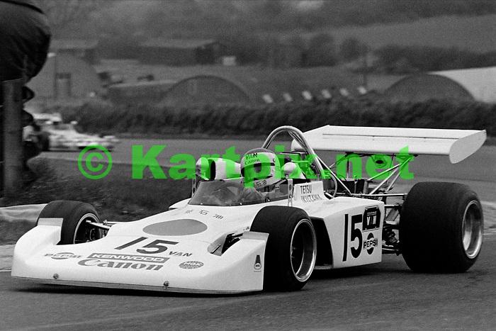 "Tetsu Ikuzawa, Thruxton,<br /> Esso Uniflo B.A.R.C. ""200"" 1973<br /> Jochen Rindt Memorial Trophy<br /> European Championship for F2 Drivers, Round 3."
