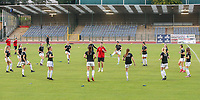 OHL players warming up before a female soccer game between FC Femina White Star Woluwe and Oud Heverlee Leuven on the fourth matchday in the 2021 - 2022 season of Belgian Scooore Womens Super League , Friday 10 th of September 2021  in Woluwe , Belgium . PHOTO SPORTPIX | SEVIL OKTEM