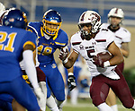 BROOKINGS, SD - MAY 2: Justin Strong #5 of the Southern Illinois Salukis looks for running room against the South Dakota State Jackrabbits at Dana J Dykhouse Stadium on May 2, 2021 in Brookings, South Dakota. (Photo by Dave Eggen/Inertia)