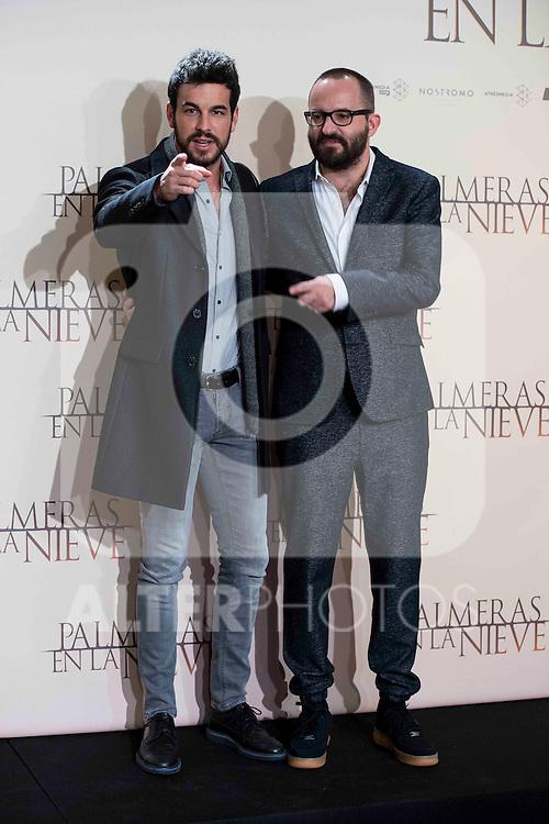 """Mario Casas and Fernando Gonzalez Molina during the presentation of the film """"Palmeras en la nieve"""" in Madrid, December 16, 2015. <br /> (ALTERPHOTOS/BorjaB.Hojas)"""