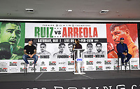 LOS ANGELES, CA - APRIL 28: (L-R) Andy Ruiz Jr., Heidi Androl, and Chris Arreola attend the press conference for the Andy Ruiz Jr. vs Chris Arreola Fox Sports PBC Pay-Per-View in Los Angeles, California on April 28, 2021. The PPV fight is on May 1, 2021 at Dignity Health Sports Park in Carson, CA. (Photo by Frank Micelotta/Fox Sports/PictureGroup)