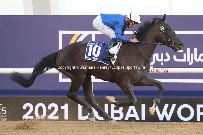 March 27, 2021: REBEL'S ROMANCE #10 ridden by William Buick wins The Group 2 UAE Derby for Charlie Appleby  on Dubai World Cup Day, Meydan Racecourse, Dubai, UAE. Shamela Hanley/Eclipse Sportswire/CSM
