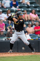 Connor Joe (23) of the West Virginia Power at bat against the Hickory Crawdads at L.P. Frans Stadium on August 15, 2015 in Hickory, North Carolina.  The Power defeated the Crawdads 9-0.  (Brian Westerholt/Four Seam Images)