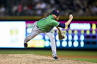 Gwinnett Braves relief pitcher Ben Rowen (22) follows through on his delivery against the Charlotte Knights at BB&T BallPark on July 12, 2019 in Charlotte, North Carolina. The Stripers defeated the Knights 9-3. (Brian Westerholt/Four Seam Images)