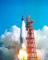Kennedy Space Center (FLA) USA -   2/20/1962 - File Photo - Launch of Friendship 7, the first American manned orbital space flight. Astronaut John Glenn aboard, the Mercury-Atlas rocket is launched from Pad 14.