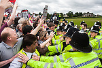 © Joel Goodman - 07973 332324 - all rights reserved . 15/08/2009 . Derbyshire , UK . Antifascists protest against the BNP 's Red White and Blue Festival in the village of Codnor . Photo credit : Joel Goodman