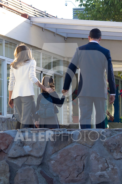 14.09.2012. Prince Felipe of Spain, Princess Letizia of Spain and their daughters Leonor and Sofia  arrive at 'Santa Maria de los Rosales' School in Aravaca near of Madrid, Spain. In the image (L-R) Princess Letizia,  Princess Leonor and Prince Felipe (Alterphotos/Marta Gonzalez)
