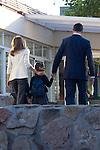 14.09.2012. Prince Felipe of Spain, Princess Letizia of Spain and their daughters Leonor and Sofia  arrive at 'Santa Maria de los Rosales' School in Aravaca near of Madrid, Spain. In the image (L-R) Princess Letizia,  Princess Leonor and Prince Felipe (Alterphotos/Marta Gonzalez)