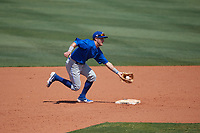 Dunedin Blue Jays shortstop Logan Warmoth (7) fields a ground ball during a Florida State League game against the Charlotte Stone Crabs on April 17, 2019 at Charlotte Sports Park in Port Charlotte, Florida.  Charlotte defeated Dunedin 4-3.  (Mike Janes/Four Seam Images)