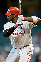 Philadelphia Phillies first baseman Ryan Howard #6 at bat during the Major League Baseball game against the Houston Astros at Minute Maid Park in Houston, Texas on September 14, 2011. Philadelphia defeated Houston 1-0 to clinch a playoff berth.  (Andrew Woolley/Four Seam Images)