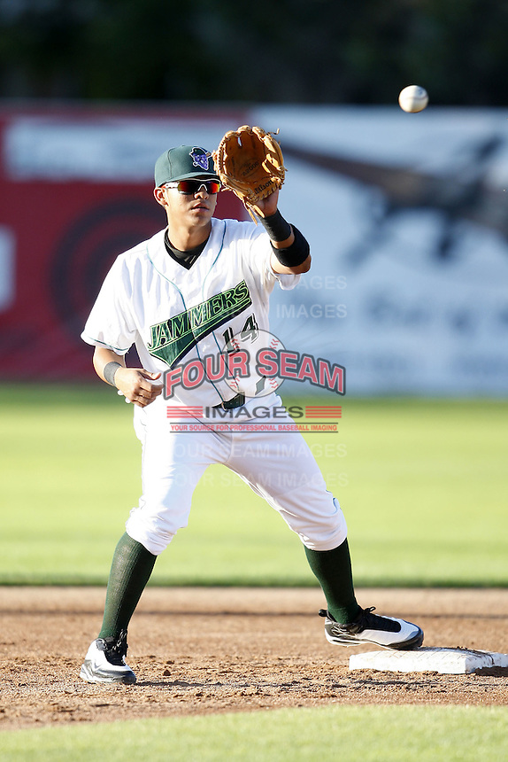 June 23, 2009:  Shortstop Jose Torres of the Jamestown Jammers in the field during a game at Russell Diethrick Park in Jamestown, NY.  The Jammers are the NY-Penn League Short-Season Class-A affiliate of the Florida Marlins.  Photo by:  Mike Janes/Four Seam Images