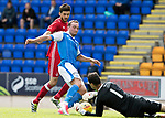 St Johnstone v Aberdeen…01.07.17  McDiarmid Park     Pre-Season Friendly <br />Joe Lewis saves from Chris Kane<br />Picture by Graeme Hart.<br />Copyright Perthshire Picture Agency<br />Tel: 01738 623350  Mobile: 07990 594431