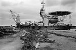 Oil industry Lerwick harbour Shetland Islands 1990s.