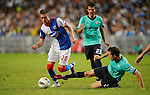 SO KON PO, HONG KONG - JULY 30: Ruben Rochina of Blackburn Rovers and Fernando Recio of Kitchee in action during the Asia Trophy pre-season friendly match at the Hong Kong Stadium on July 30, 2011 in So Kon Po, Hong Kong.  Photo by Victor Fraile / The Power of Sport Images