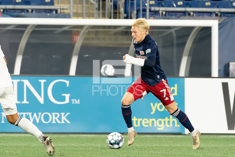 FOXBOROUGH, MA - OCTOBER 09: Connor Presley #7 of New England Revolution II during a game between Fort Lauderdale CF and New England Revolution II at Gillette Stadium on October 09, 2020 in Foxborough, Massachusetts.