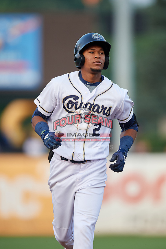 Kane County Cougars second baseman Yan Sanchez (2) rounds the bases after hitting a home run in the bottom of the fourth inning during a game against the South Bend Cubs on July 23, 2018 at Northwestern Medicine Field in Geneva, Illinois.  Kane County defeated South Bend 8-5.  (Mike Janes/Four Seam Images)