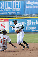 Tim Beckham of the Princeton Devil Rays turns a double play against the Greeneville Astros in an Appalachian League game at Hunnicutt Field in Princeton, WV on July 20, 2008