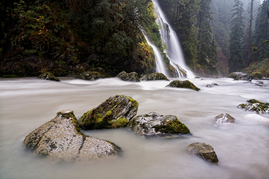 Un-named creek falls over Feature Show Falls and into Boulder River, Boulder River Wilderness, Central Cascades, Washington, USA
