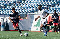 FOXBOROUGH, MA - JULY 25: USL League One (United Soccer League) match. Illal Osumanu #28 of Union Omaha dribbles at midfield during a game between Union Omaha and New England Revolution II at Gillette Stadium on July 25, 2020 in Foxborough, Massachusetts.