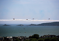 The Red Arrows perform for the Air Show in Swansea Bay, Wales, UK. Sunday 02 July 2017