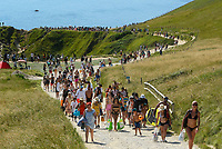 BNPS.co.uk (01202 558833)<br /> Pic: Graham Hunt/BNPS<br /> <br /> The South West Coast Path is packed with visitors going to and from Durdle Door in Dorset on an afternoon of scorching hot sunshine and clear blue skies as the heatwave continues.