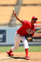 August 9 2008: Christopher Jenkins participates in the Aflac All American baseball game for incoming high school seniors at Dodger Stadium in Los Angeles,CA.  Photo by Larry Goren/Four Seam Images