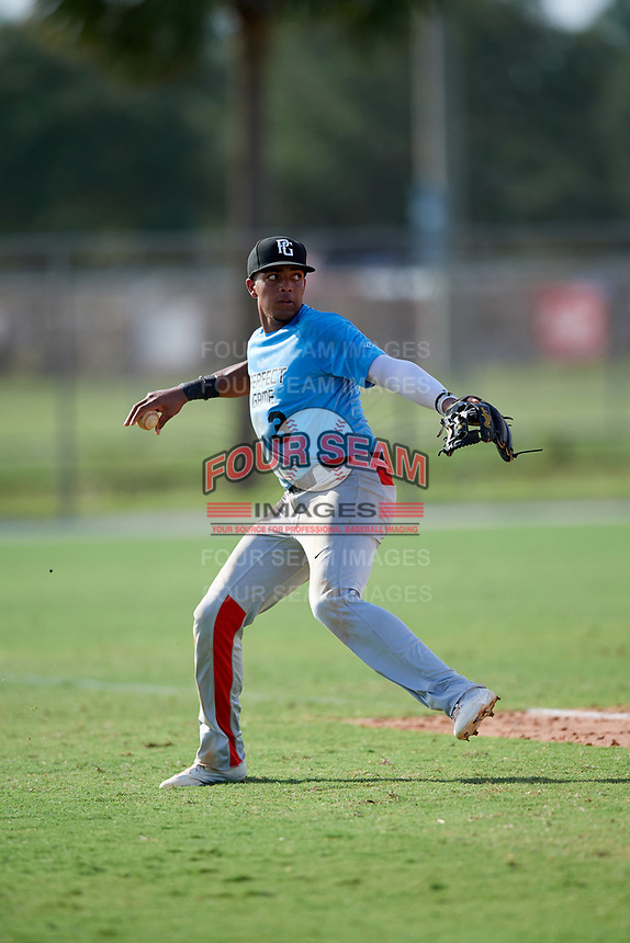 Lency Delgado (3) while playing for Miami PG Columbia Blue based out of Miami, Florida during the WWBA World Championship at the Roger Dean Complex on October 21, 2017 in Jupiter, Florida.  Lency Delgado is a shortstop / third baseman from Miami, Florida who attends Doral Academy Charter High School.  (Mike Janes/Four Seam Images)