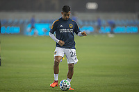 SAN JOSE, CA - SEPTEMBER 13: Efrain Alvarez #26 of the L.A. Galaxy during warm ups during a game between Los Angeles Galaxy and San Jose Earthquakes at Earthquakes Stadium on September 13, 2020 in San Jose, California.