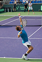 Moscow, Russia, 15 th July, 2016, Tennis,  Davis Cup Russia-Netherlands, Second rubber:  Teymuraz Gabashvili (RUS) serves the ball during his match against Thiemo de Bakker (NED)<br /> Photo: Henk Koster/tennisimages.com