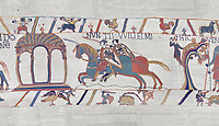 Bayeux Tapestry scene 11 :  Two messengers rush from William to Guy de Ponthieu with orders fro Harolds release.  BYX11