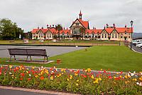 Rotorua Museum of Art and History, Rotorua, north island, New Zealand, Poppies in Foreground.