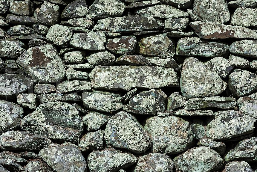 Rustic fieldstone wall detail, Rhode Island, USA.