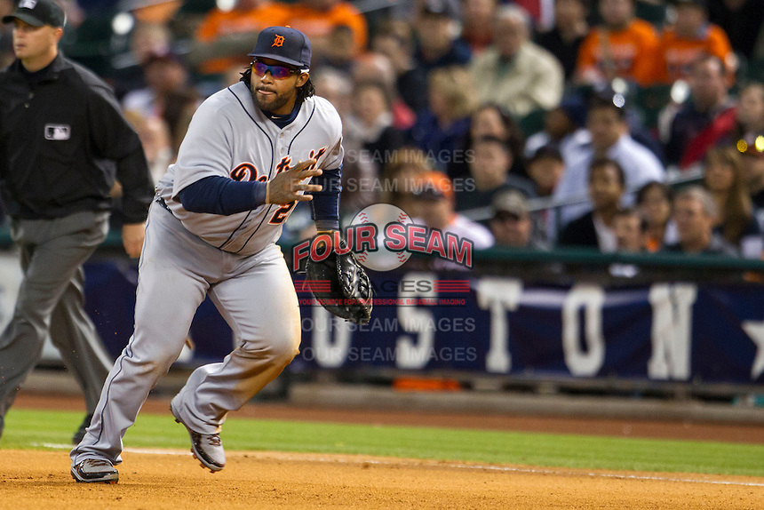 Detroit Tigers first baseman Prince Fielder (28) on defense during the MLB baseball game against the Houston Astros on May 3, 2013 at Minute Maid Park in Houston, Texas. Detroit defeated Houston 4-3. (Andrew Woolley/Four Seam Images).