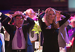 St Johnstone FC Hall of Fame Dinner, Perth Concert Hall….03.04.16<br />St Johnstone owner Geoff Brown plays a games of Heads and tails alongside Sky Sports and lifelong St Johnstone fan Jo Wilson<br />Picture by Graeme Hart.<br />Copyright Perthshire Picture Agency<br />Tel: 01738 623350  Mobile: 07990 594431