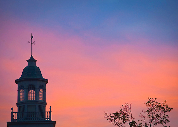 Various Spring Scenics on campus during April of 2010: the sun sets behind the cupola on the roof of Watson Hall
