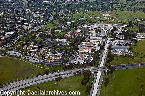 aerial photograph Standford Linear Accelerator Center, SLAC National Accelerator Laboratory, Sand Hill Road, Menlo Park, San Mateo county, California